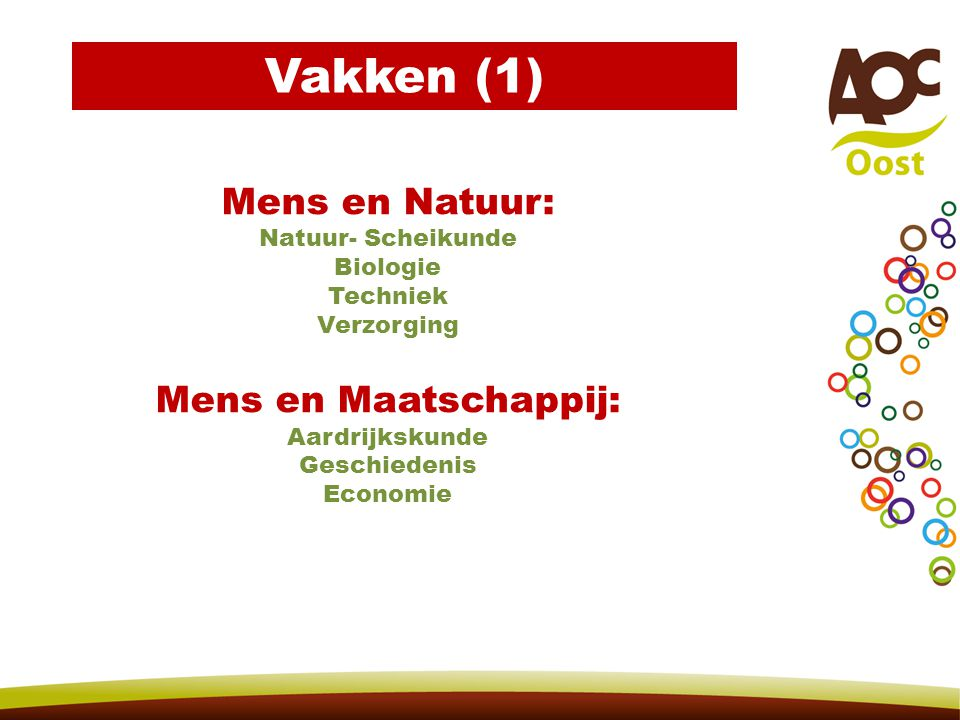 Vakken (1) Mens en Natuur: Mens en Maatschappij: Natuur- Scheikunde