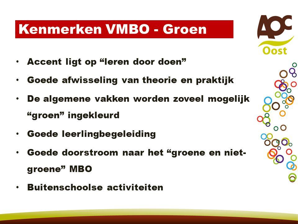 Kenmerken VMBO - Groen Accent ligt op leren door doen