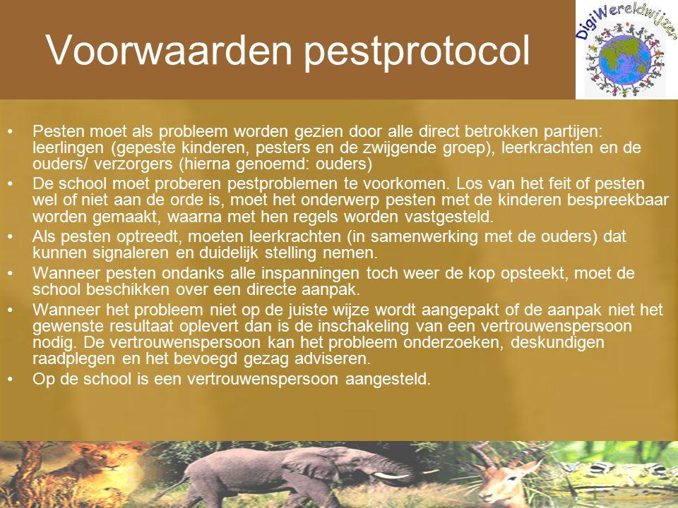 Voorwaarden pestprotocol