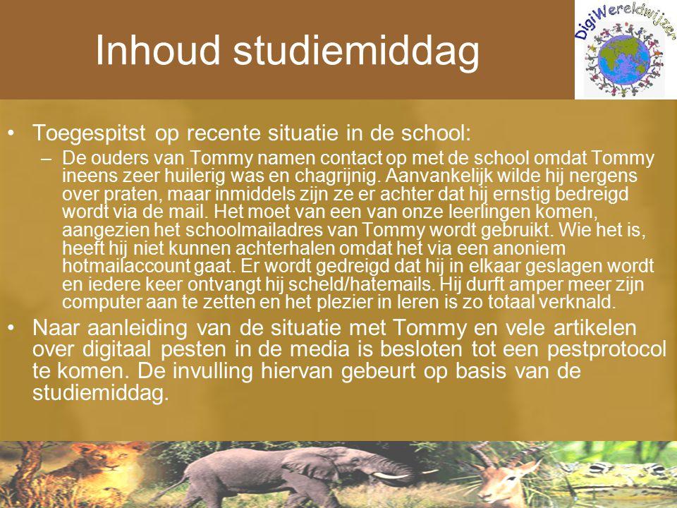 Inhoud studiemiddag Toegespitst op recente situatie in de school: