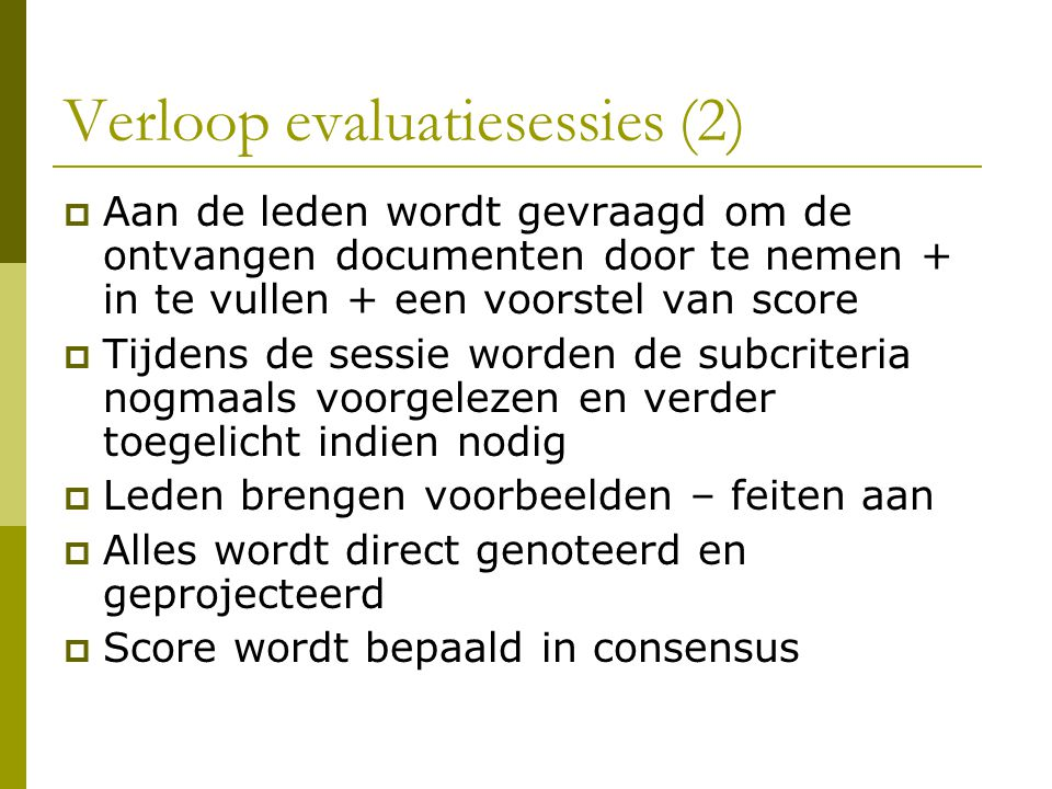 Verloop evaluatiesessies (2)