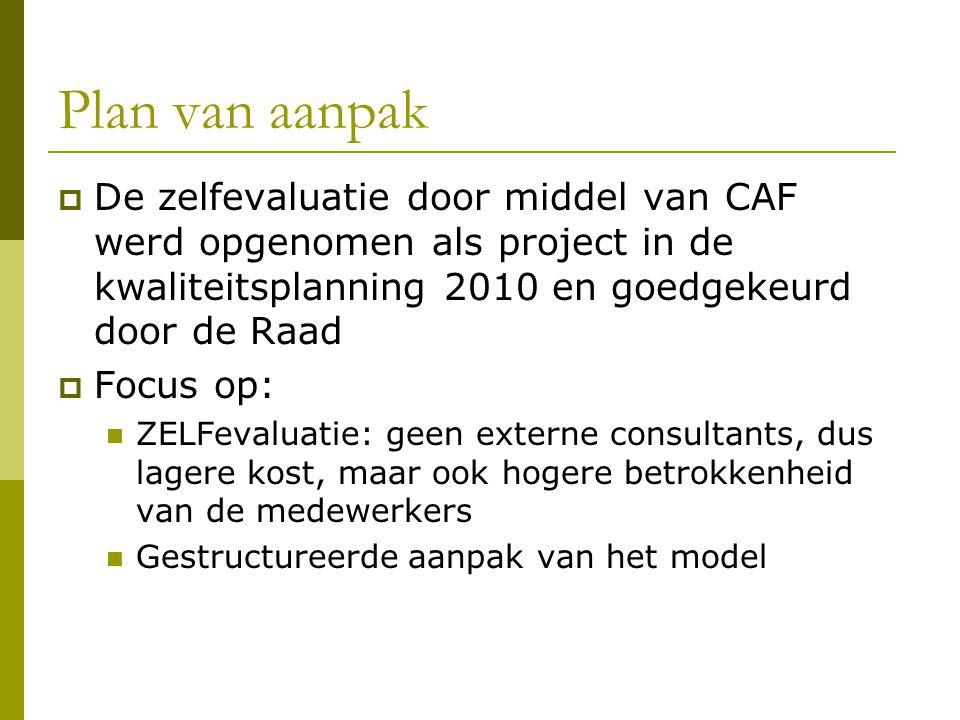 Plan van aanpak De zelfevaluatie door middel van CAF werd opgenomen als project in de kwaliteitsplanning 2010 en goedgekeurd door de Raad.