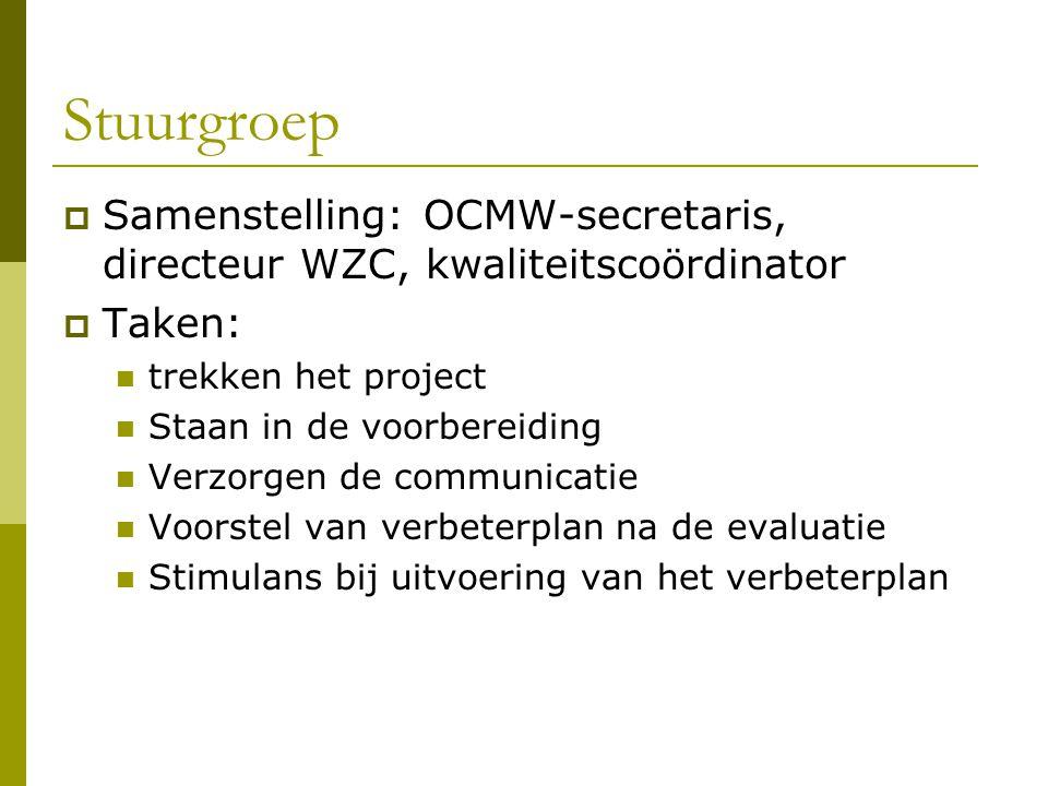 Stuurgroep Samenstelling: OCMW-secretaris, directeur WZC, kwaliteitscoördinator. Taken: trekken het project.