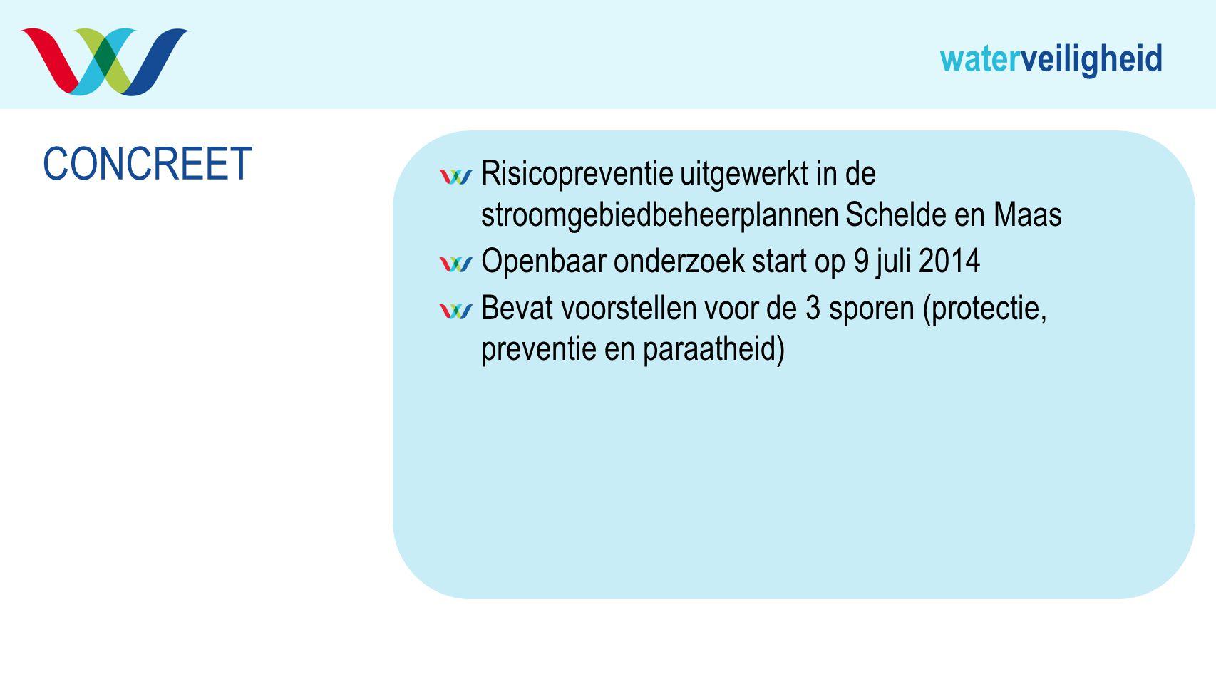 CONCREET Risicopreventie uitgewerkt in de stroomgebiedbeheerplannen Schelde en Maas. Openbaar onderzoek start op 9 juli 2014.