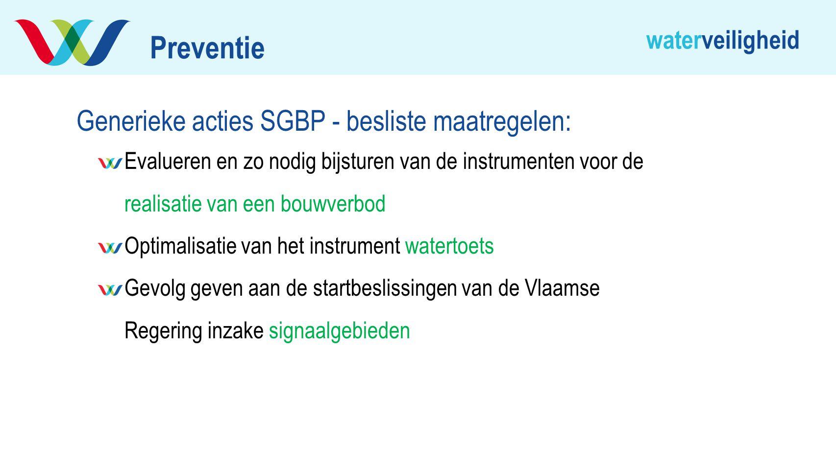 Preventie Generieke acties SGBP - besliste maatregelen: