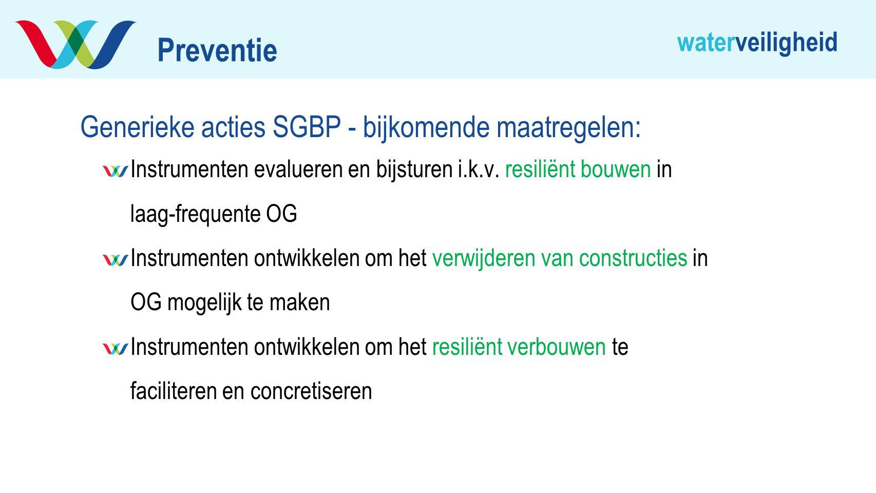 Preventie Generieke acties SGBP - bijkomende maatregelen: