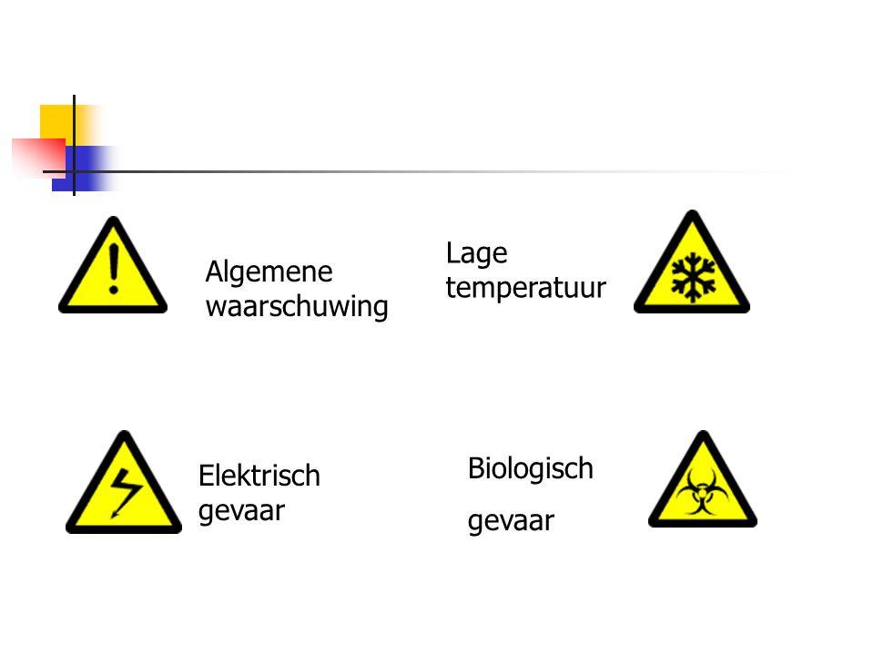 Lage temperatuur Algemene waarschuwing Biologisch gevaar Elektrisch gevaar