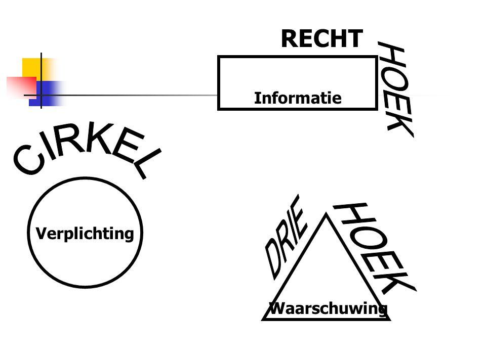 RECHT Informatie HOEK CIRKEL Verplichting DRIE HOEK Waarschuwing
