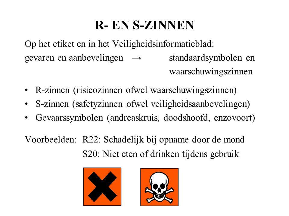 R- EN S-ZINNEN Op het etiket en in het Veiligheidsinformatieblad: