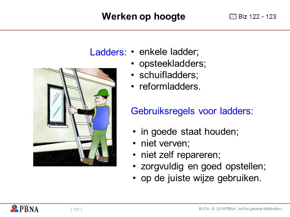 Gebruiksregels voor ladders: