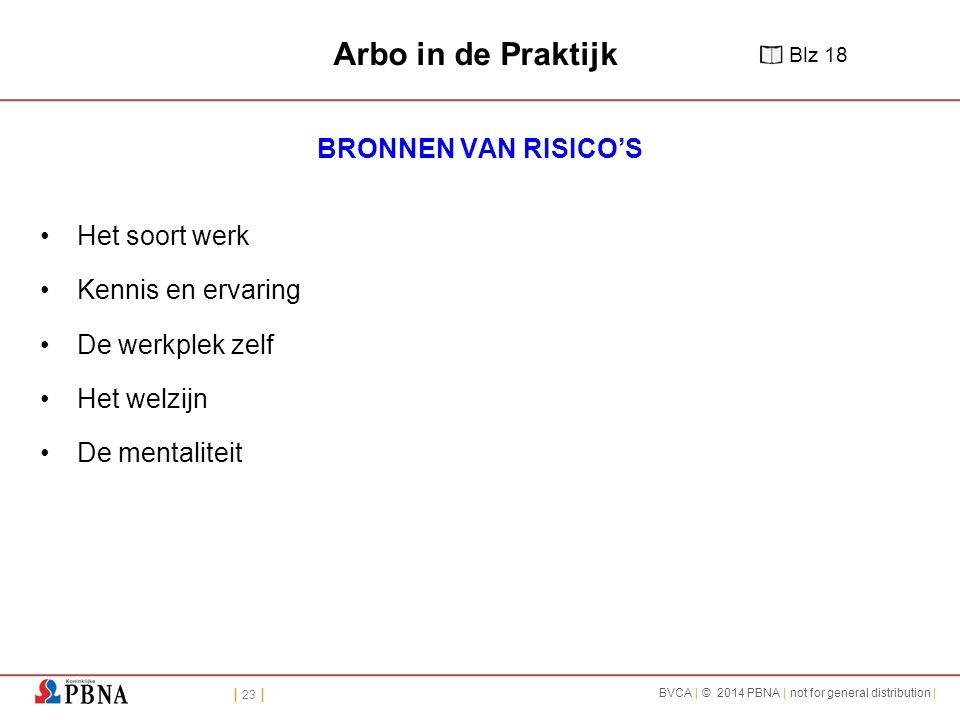Arbo in de Praktijk BRONNEN VAN RISICO'S Het soort werk
