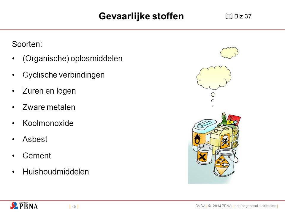 Gevaarlijke stoffen Soorten: (Organische) oplosmiddelen