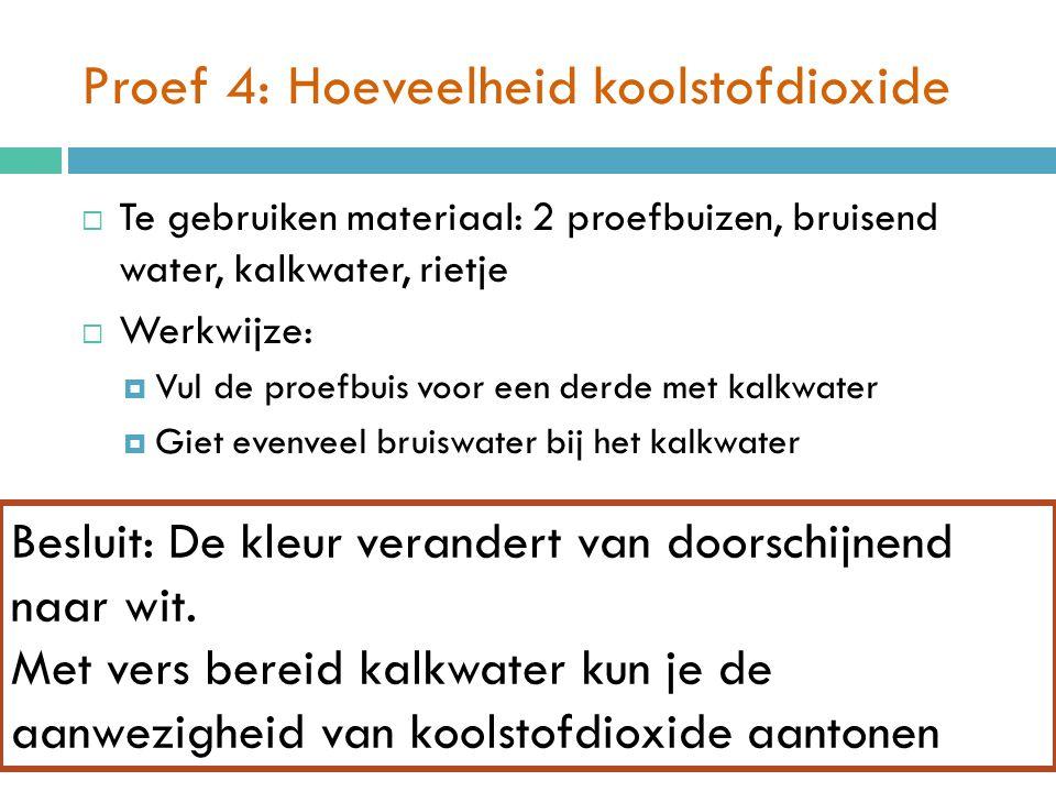 Proef 4: Hoeveelheid koolstofdioxide