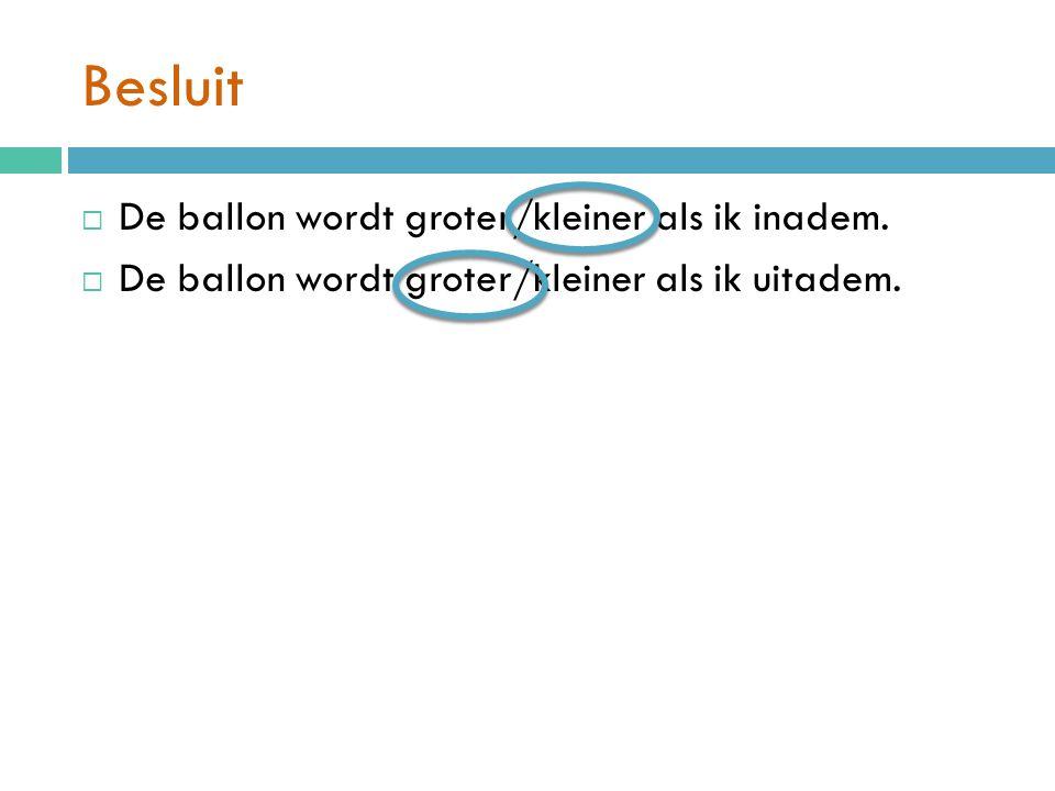 Besluit De ballon wordt groter/kleiner als ik inadem.