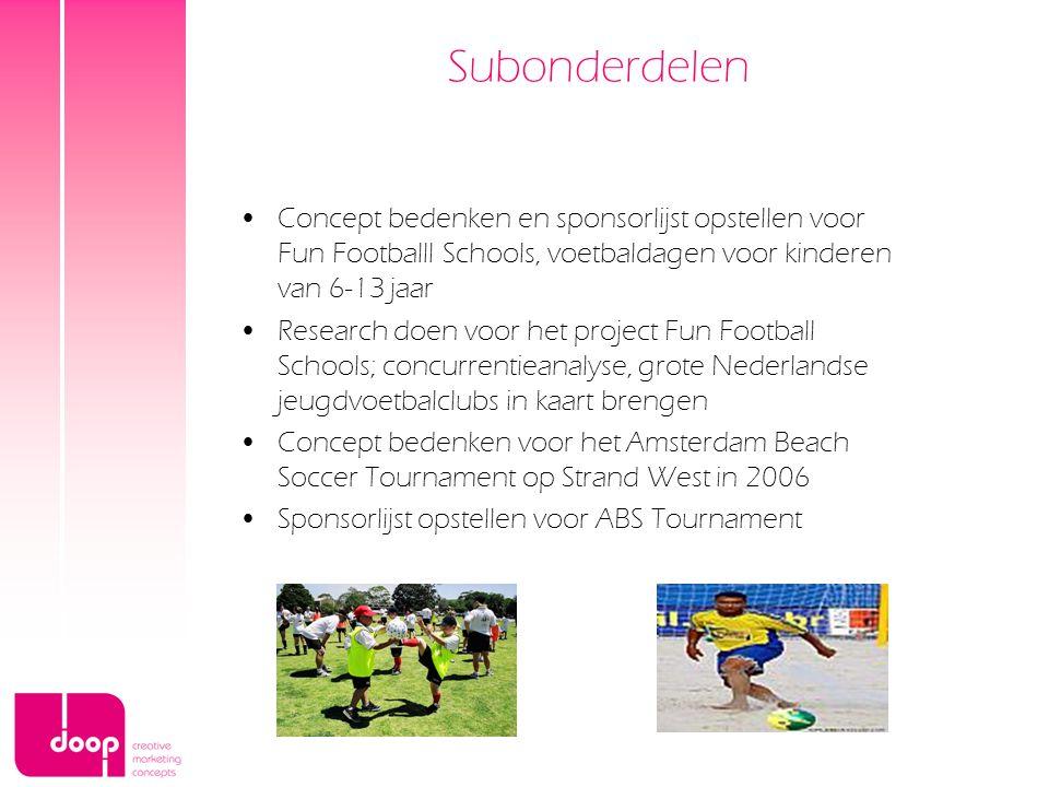 Subonderdelen Concept bedenken en sponsorlijst opstellen voor Fun Footballl Schools, voetbaldagen voor kinderen van 6-13 jaar.