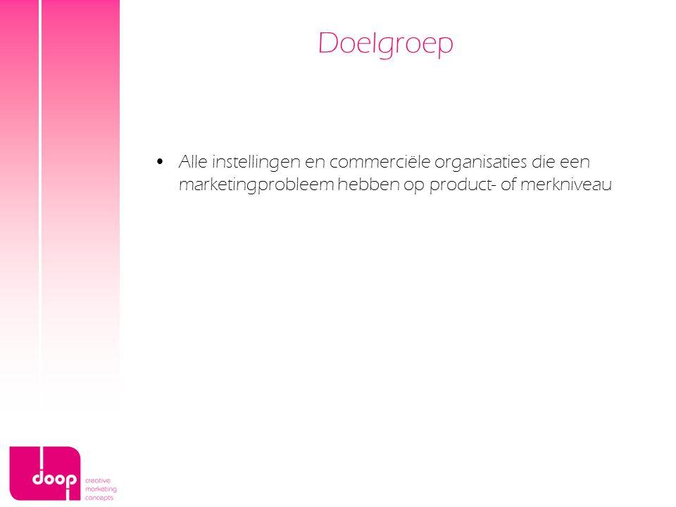 Doelgroep Alle instellingen en commerciële organisaties die een marketingprobleem hebben op product- of merkniveau.