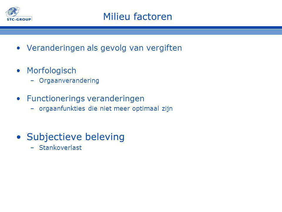 Milieu factoren Subjectieve beleving