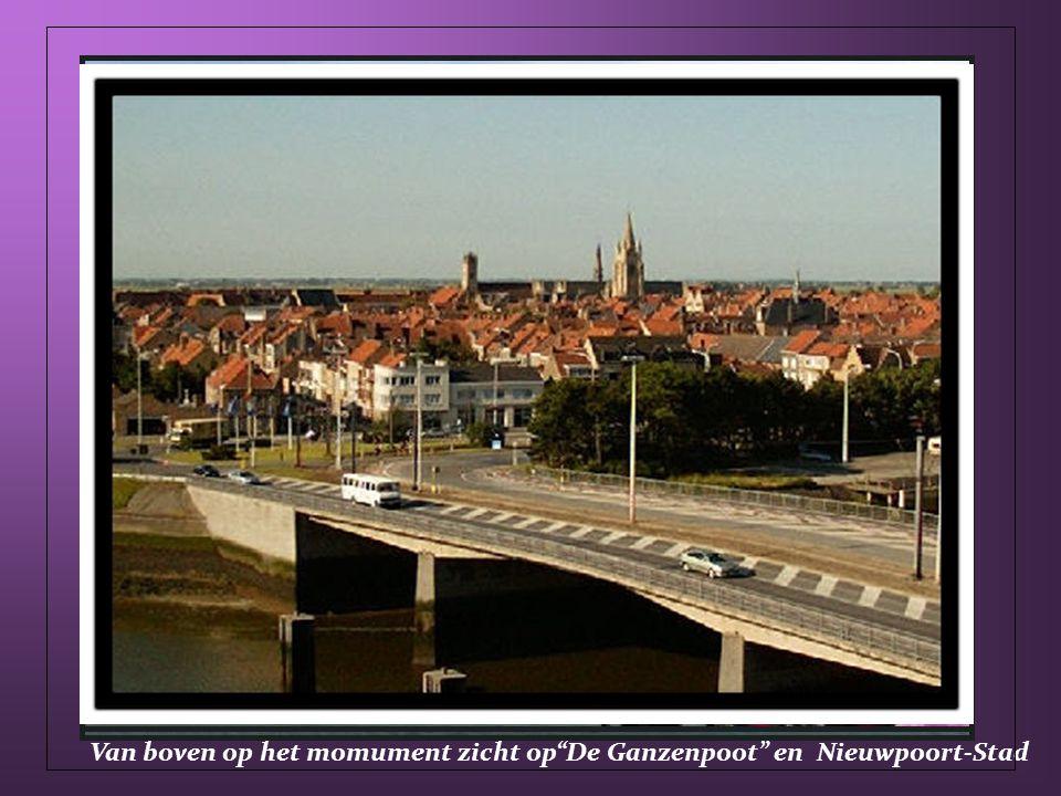 Van boven op het momument zicht op De Ganzenpoot en Nieuwpoort-Stad