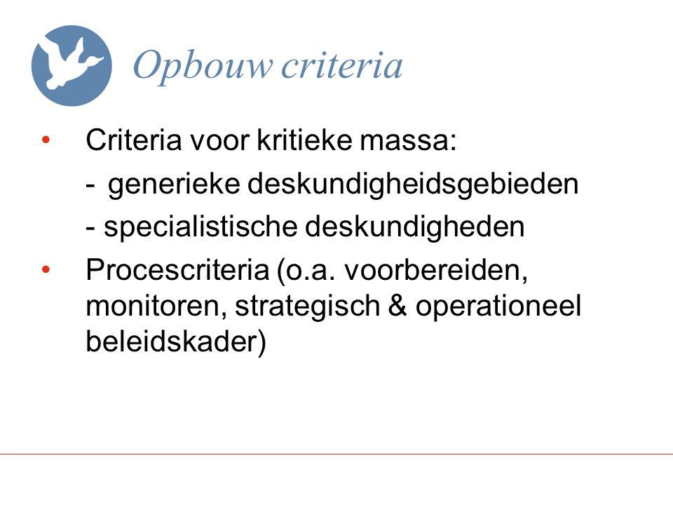 Opbouw criteria Criteria voor kritieke massa: