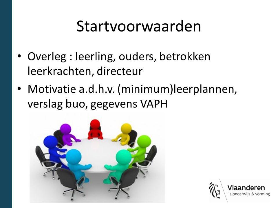 Startvoorwaarden Overleg : leerling, ouders, betrokken leerkrachten, directeur.