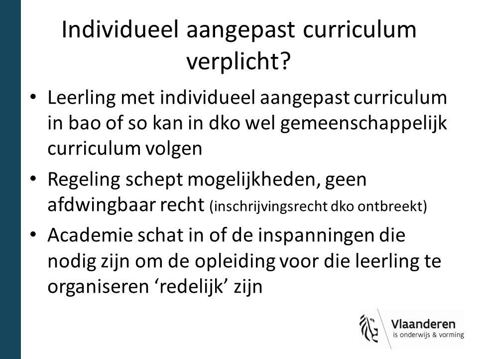 Individueel aangepast curriculum verplicht