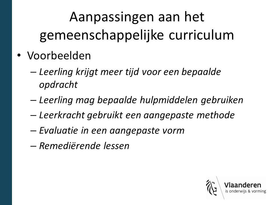 Aanpassingen aan het gemeenschappelijke curriculum