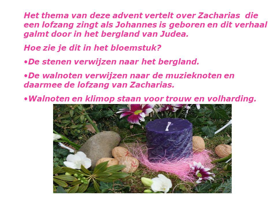 Het thema van deze advent vertelt over Zacharias die een lofzang zingt als Johannes is geboren en dit verhaal galmt door in het bergland van Judea.