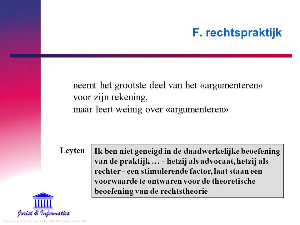 F. rechtspraktijk neemt het grootste deel van het «argumenteren» voor zijn rekening, maar leert weinig over «argumenteren»