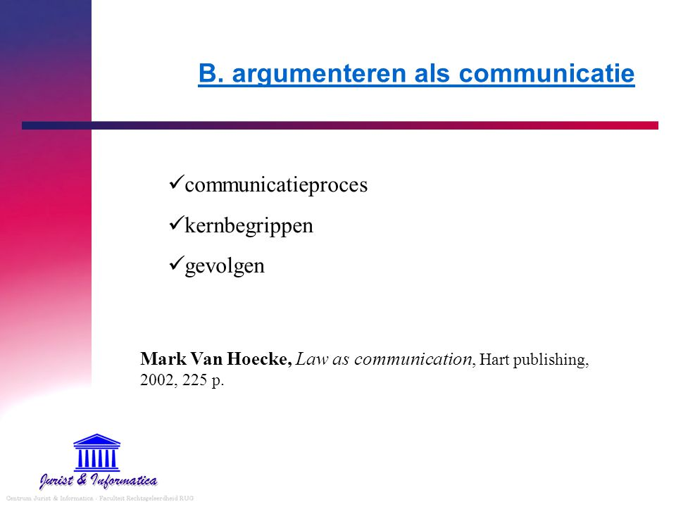 B. argumenteren als communicatie
