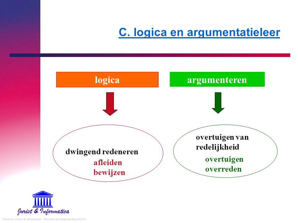 C. logica en argumentatieleer