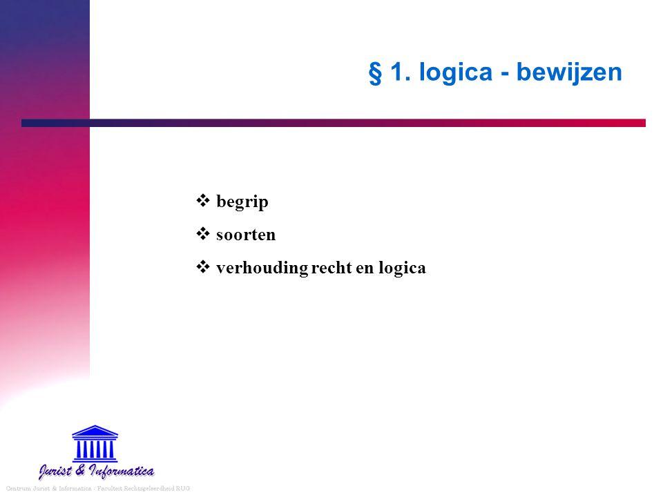 § 1. logica - bewijzen begrip soorten verhouding recht en logica