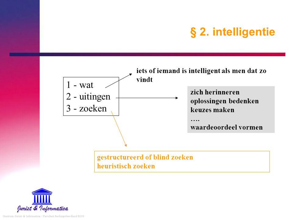 § 2. intelligentie 1 - wat 2 - uitingen 3 - zoeken