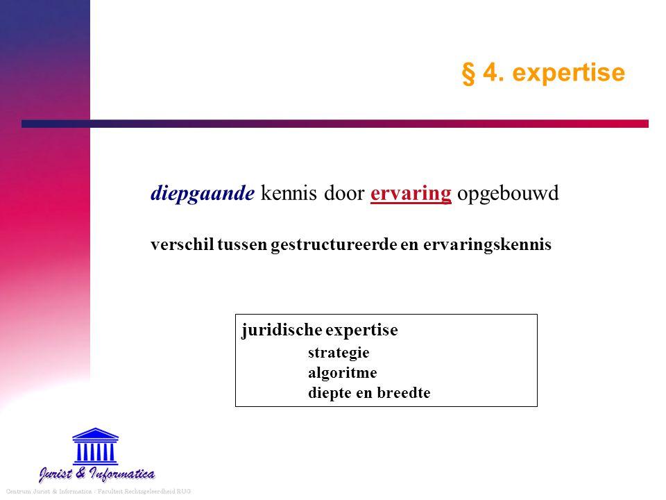§ 4. expertise diepgaande kennis door ervaring opgebouwd verschil tussen gestructureerde en ervaringskennis.