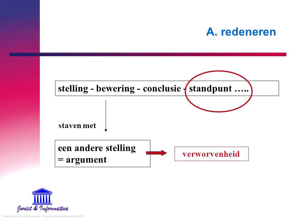 A. redeneren stelling - bewering - conclusie - standpunt …..