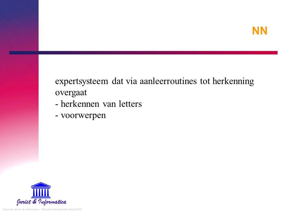 NN expertsysteem dat via aanleerroutines tot herkenning overgaat - herkennen van letters - voorwerpen.