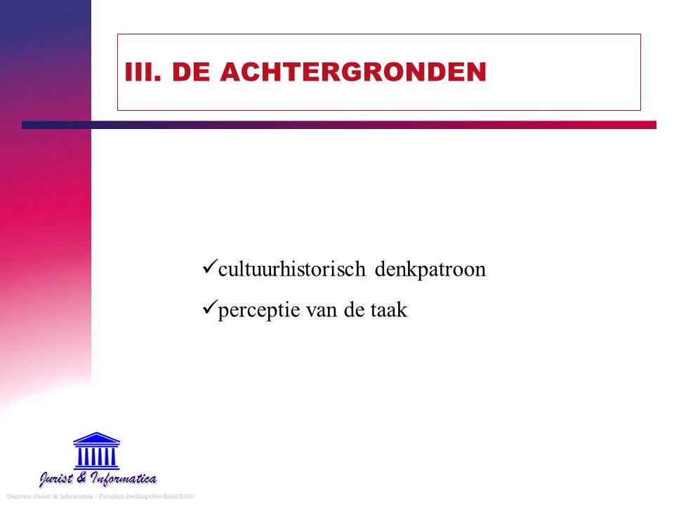 III. DE ACHTERGRONDEN cultuurhistorisch denkpatroon