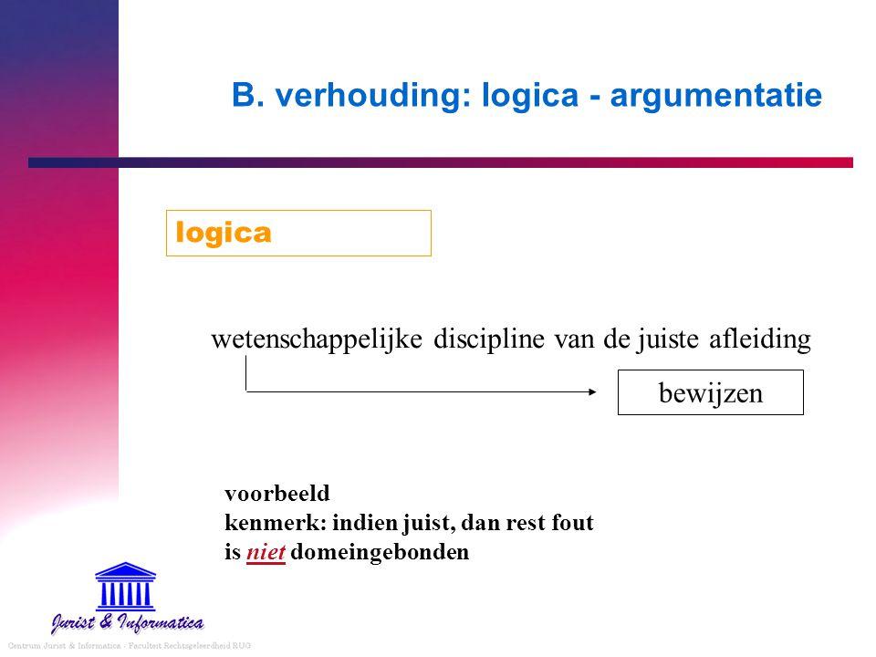 B. verhouding: logica - argumentatie