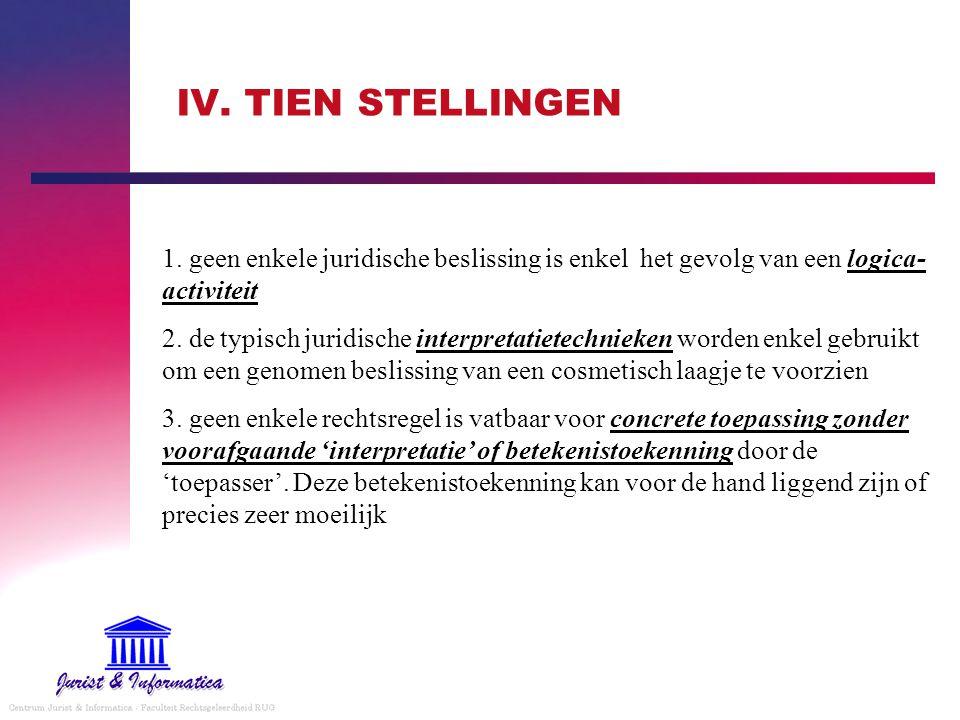 IV. TIEN STELLINGEN 1. geen enkele juridische beslissing is enkel het gevolg van een logica-activiteit.