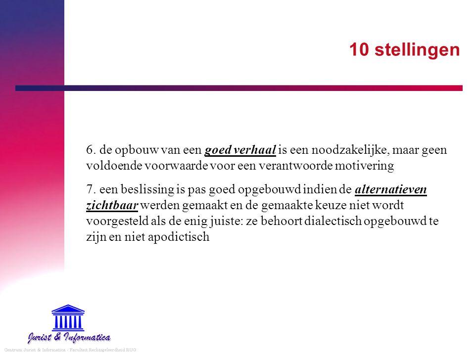 10 stellingen 6. de opbouw van een goed verhaal is een noodzakelijke, maar geen voldoende voorwaarde voor een verantwoorde motivering.