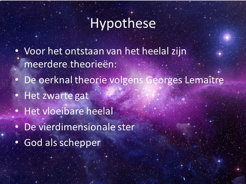 Hypothese Voor het ontstaan van het heelal zijn meerdere theorieën: