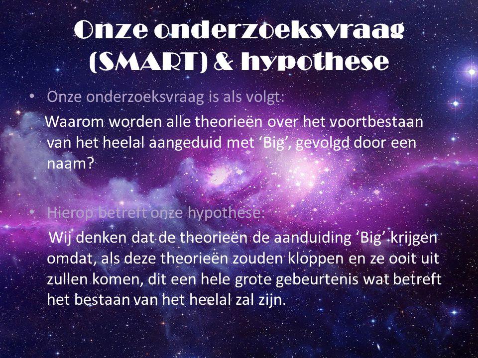 Onze onderzoeksvraag (SMART) & hypothese