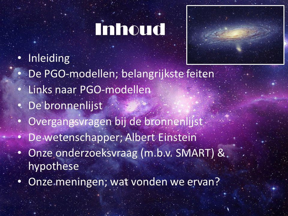Inhoud Inleiding De PGO-modellen; belangrijkste feiten