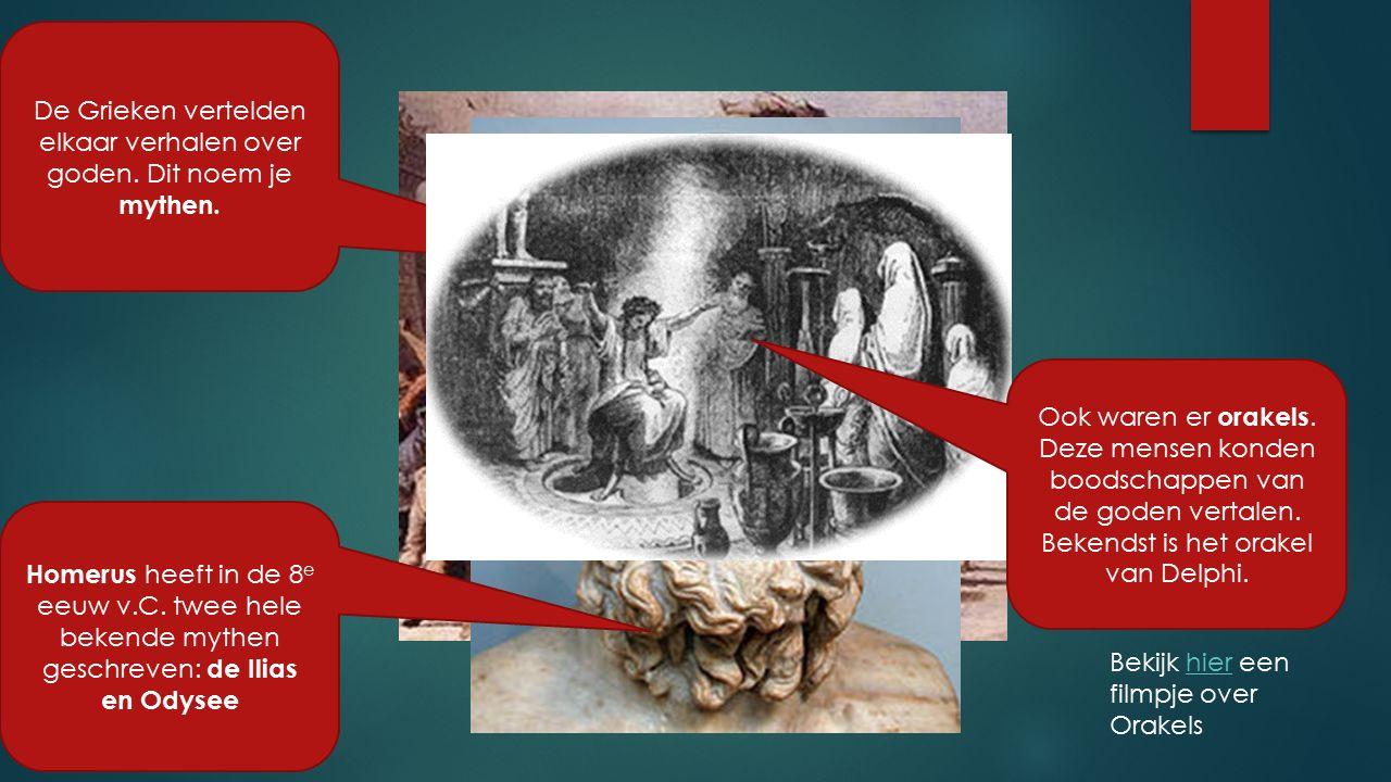 De Grieken vertelden elkaar verhalen over goden. Dit noem je mythen.