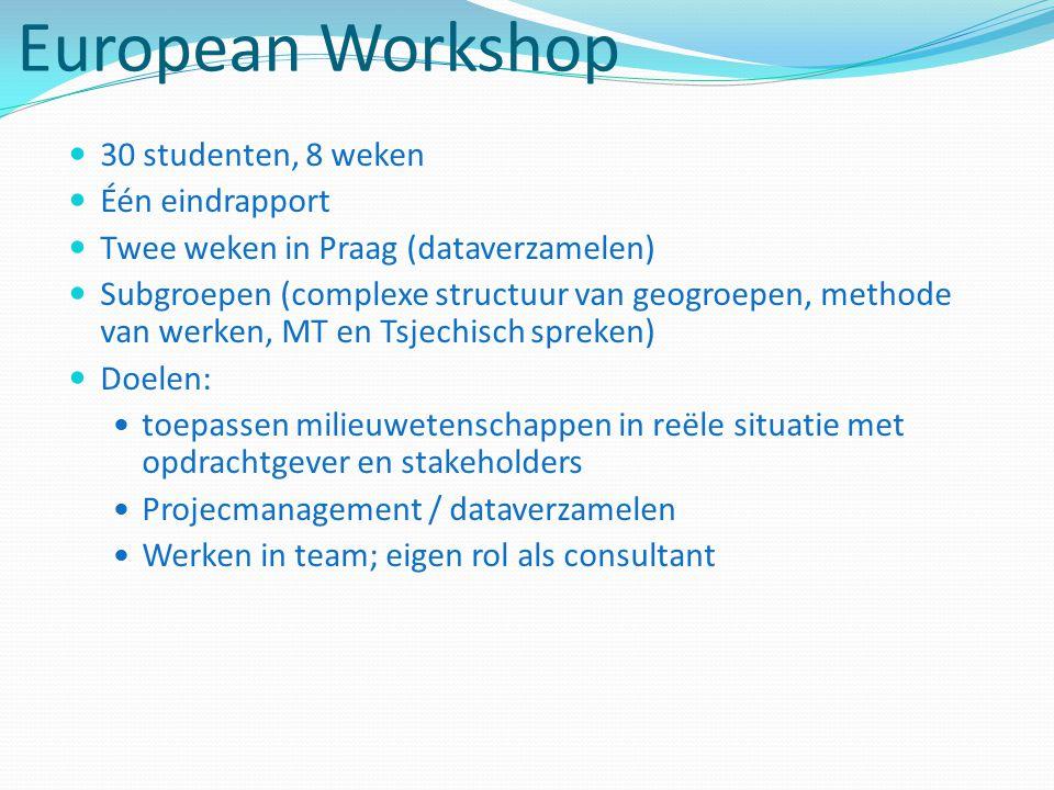 European Workshop 30 studenten, 8 weken Één eindrapport