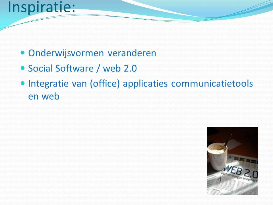 Inspiratie: Onderwijsvormen veranderen Social Software / web 2.0