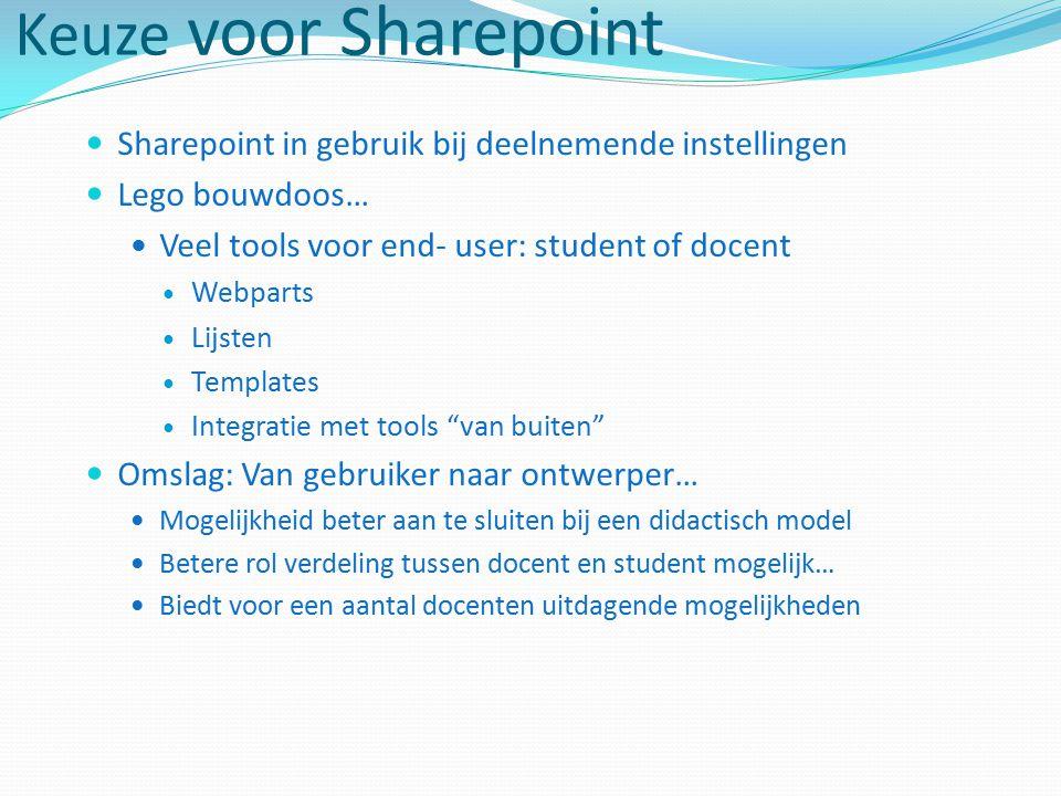 Keuze voor Sharepoint Sharepoint in gebruik bij deelnemende instellingen. Lego bouwdoos… Veel tools voor end- user: student of docent.