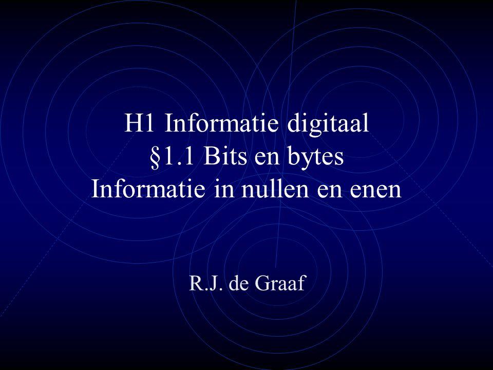 H1 Informatie digitaal §1.1 Bits en bytes Informatie in nullen en enen