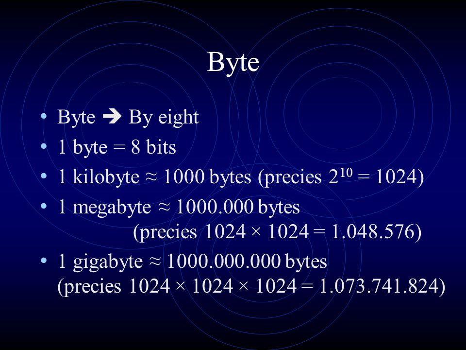 Byte Byte  By eight 1 byte = 8 bits