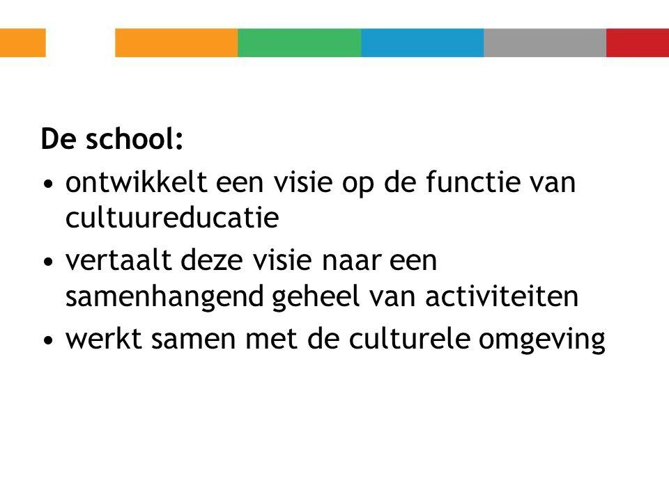 De school: ontwikkelt een visie op de functie van cultuureducatie. vertaalt deze visie naar een samenhangend geheel van activiteiten.