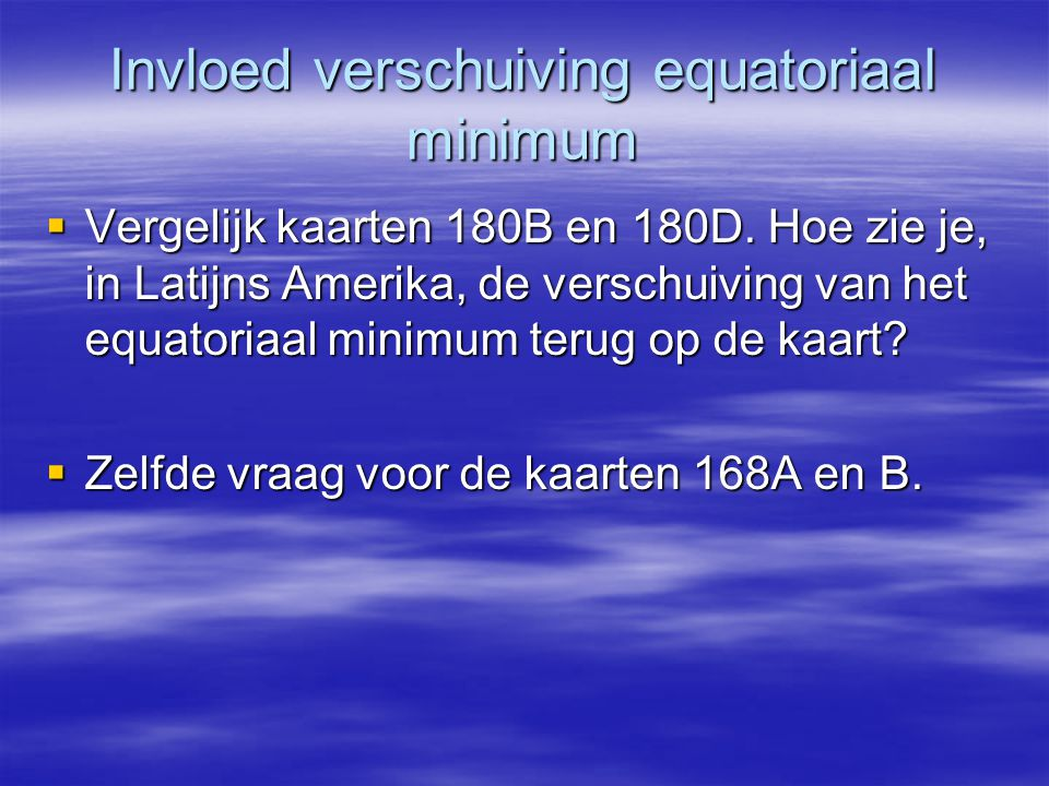 Invloed verschuiving equatoriaal minimum